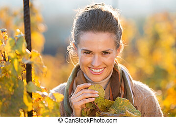 Woman winegrower inspecting grape vines in autumn vineyard -...
