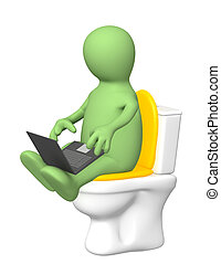 Puppet, sitting with a laptop on toilet bowl - 3d puppet,...