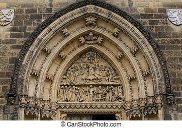 Tympanum of St Peter and St Paul basilica in Vysehrad,...