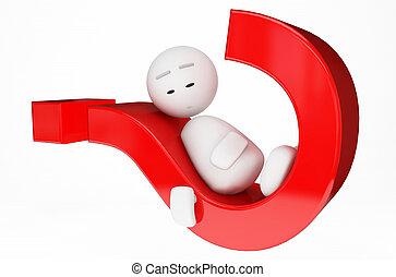 a cute 3D guy sleeps on a problem (3D happyman isolated...
