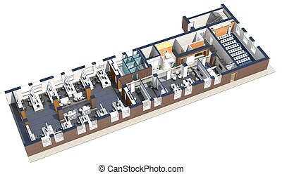 Top view of the office space Architectural visualization...