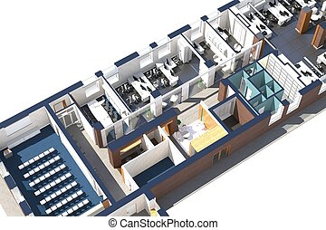 Top view of the office space. Architectural visualization...