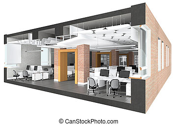 Cross section of the office space. Architectural...