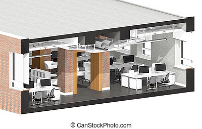 Cross section of the office space Architectural...