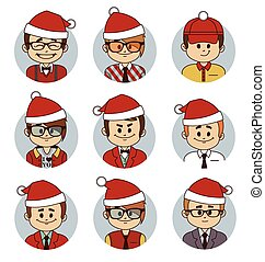 Set of Christmas business characters Vector illustration