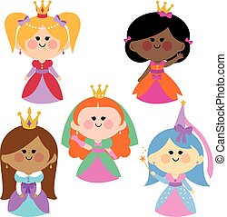 Cute girl princesses set - A happy multi ethnic group of...