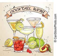 The Unforgettables Cocktail menu, excellent vector...