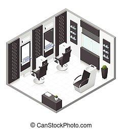 Beauty salon isometric icon set