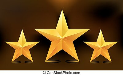 Illustration of the three gold stars. Vector.