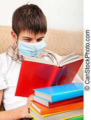 Young Man with the Book - Sick Young Man in Flu Mask read...