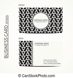 Geometric monochrome business card template with hipster...