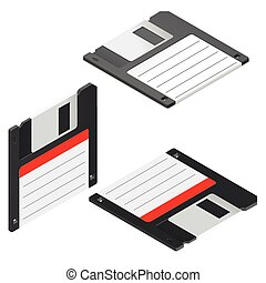 Floppy disc isometric icon set vector graphic illustration