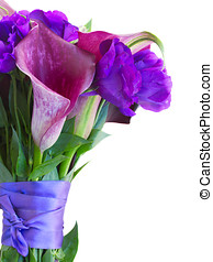 Calla lilly and eustoma flowers bouquet close up isolated on...