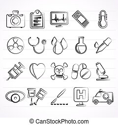 medical tools and health care equip