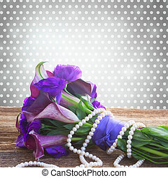 Calla lilly and eustoma flowers - Bouquet of calla lilly and...