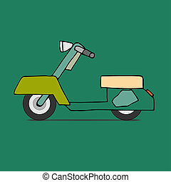 Classic moped - flat design scooter Classic moped, side...