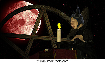 Witch reading Magic book with Candle light at Red Moon...