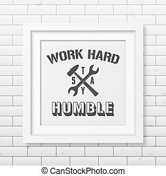 Quote typographical Background in realistic square white...