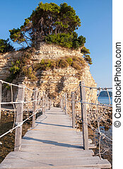 Bridge to Cameo Island, Zakynthos, Greece - Hanging wooden...