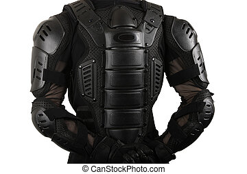 Protective suit for motorbike - Biker back close up in...