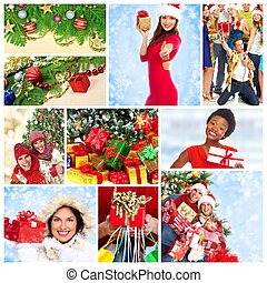 Happy Christmas people collage.