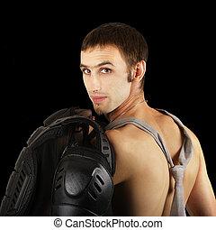 Over shoulder bare skin biker