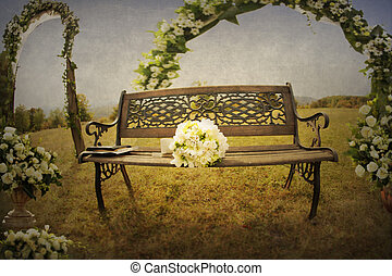 Bride\\\'s bouquet on a bench in nature - Bride\\\'s bouquet...