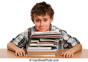 Schoolboy displeased by the amount of work he has to do -...