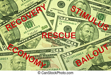 ECONOMIC RECOVERY CONCEPT - currency background with...