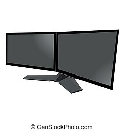 dual monitor, two, doble, electronics, flat style, vector...