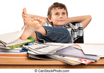 Dreaming of holiday - Portrait of a barefoot schoolboy with...