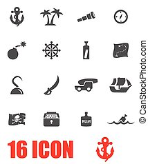 Vector grey pirate chart icon set