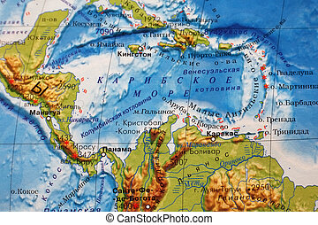 Caribbean Sea - Part of a map Caribbean sea
