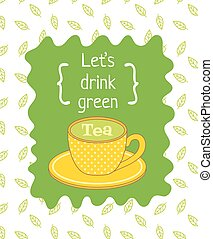 green tea - vector template of poster with image of a dotted...