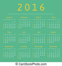 Calendar 2016 year, week starts with sunday