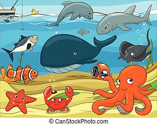 Educational game for children underwater life background...