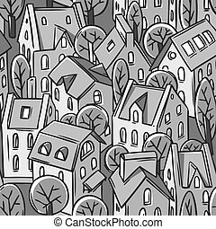City seamless pattern with roofs - City seamless monochrome...