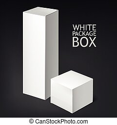 Set realistic white boxes - Set Of White Package Box Mockup...