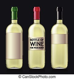 Sample of empty bottles for wine - Transparent glass bottle...