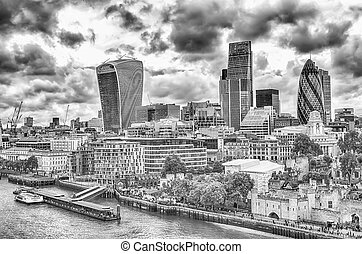 London City Skyline, Modern Skyscrapers in London financial...