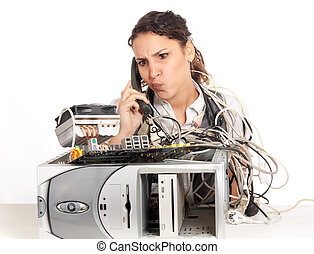 broken computer - young business woman calling technology...
