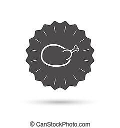Chicken sign icon. Hen bird meat symbol.