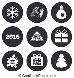 Christmas, new year icons Gift box, fireworks - Christmas,...
