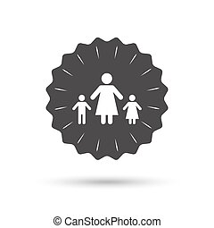 One-parent family with two children sign icon - Vintage...