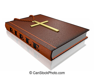Bible Rosary Cross - Hard bound Bible book with a rosary and...