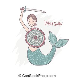 Handdrawn Monument of mermaid in Warsaw Poland - Vector...