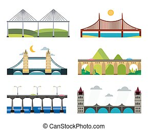 Bridge silhouette illustration set - Bridge set. Bridges...