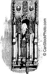 Hammer of the house of Jacques Coeur, Bourges, vintage engraving.