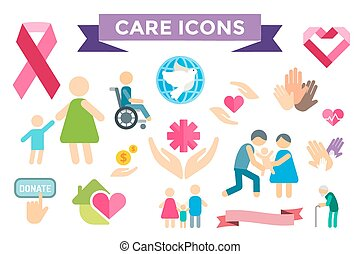 Charity care flat icons set Care vector logo icons Care...