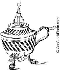 A candlestick of the eighteenth century, vintage engraving....